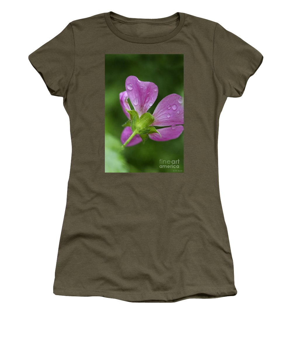 Flower Women's T-Shirt featuring the photograph Dew Kisses by Deborah Benoit