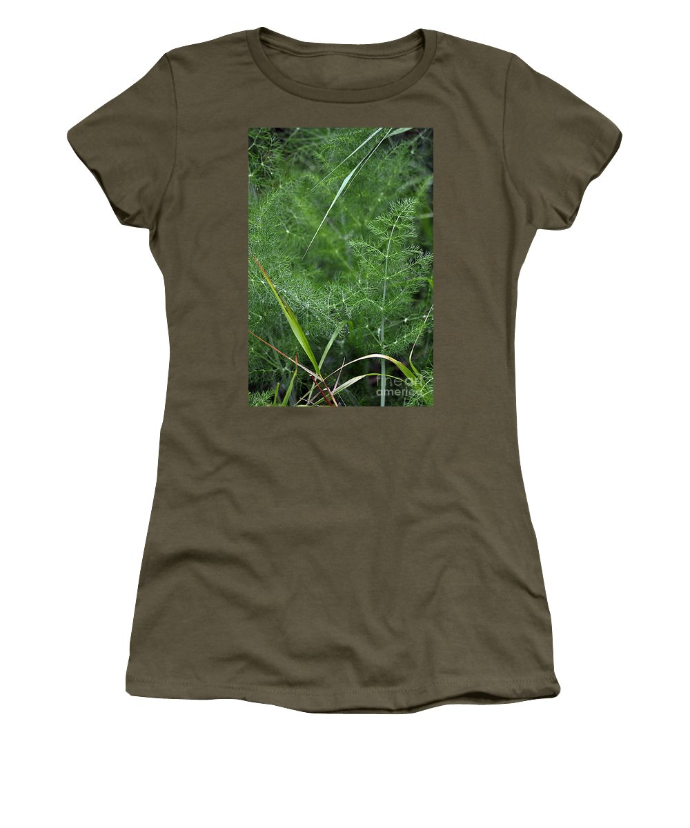 Clay Women's T-Shirt (Athletic Fit) featuring the photograph Dew On The Ferns by Clayton Bruster