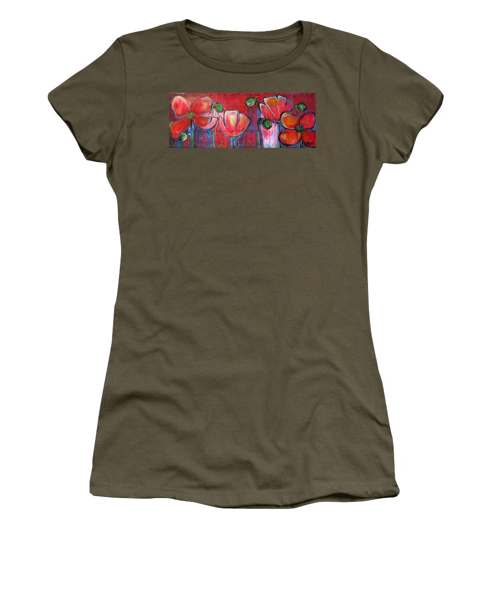 Red Women's T-Shirt featuring the painting Did You Say Sanctuary by Laurie Maves ART