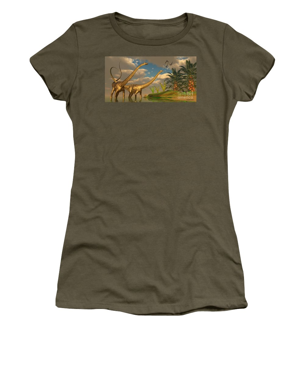 Diplodocus Women's T-Shirt featuring the painting Diplodocus Dinosaur Romance by Corey Ford