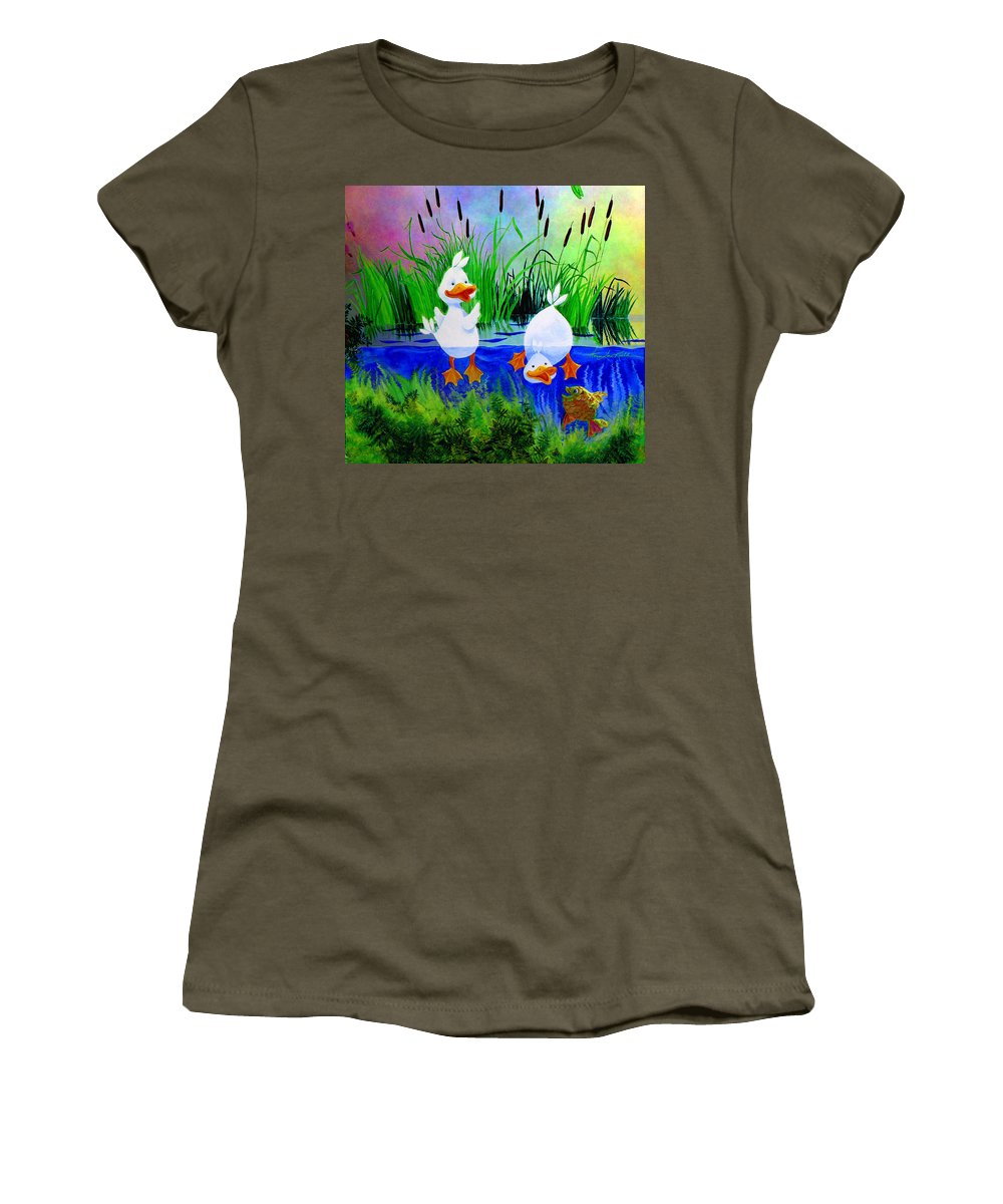 Preschool Wall Mural Women's T-Shirt featuring the painting Dipping Duckies - Furry Forest Friends Mural by Hanne Lore Koehler