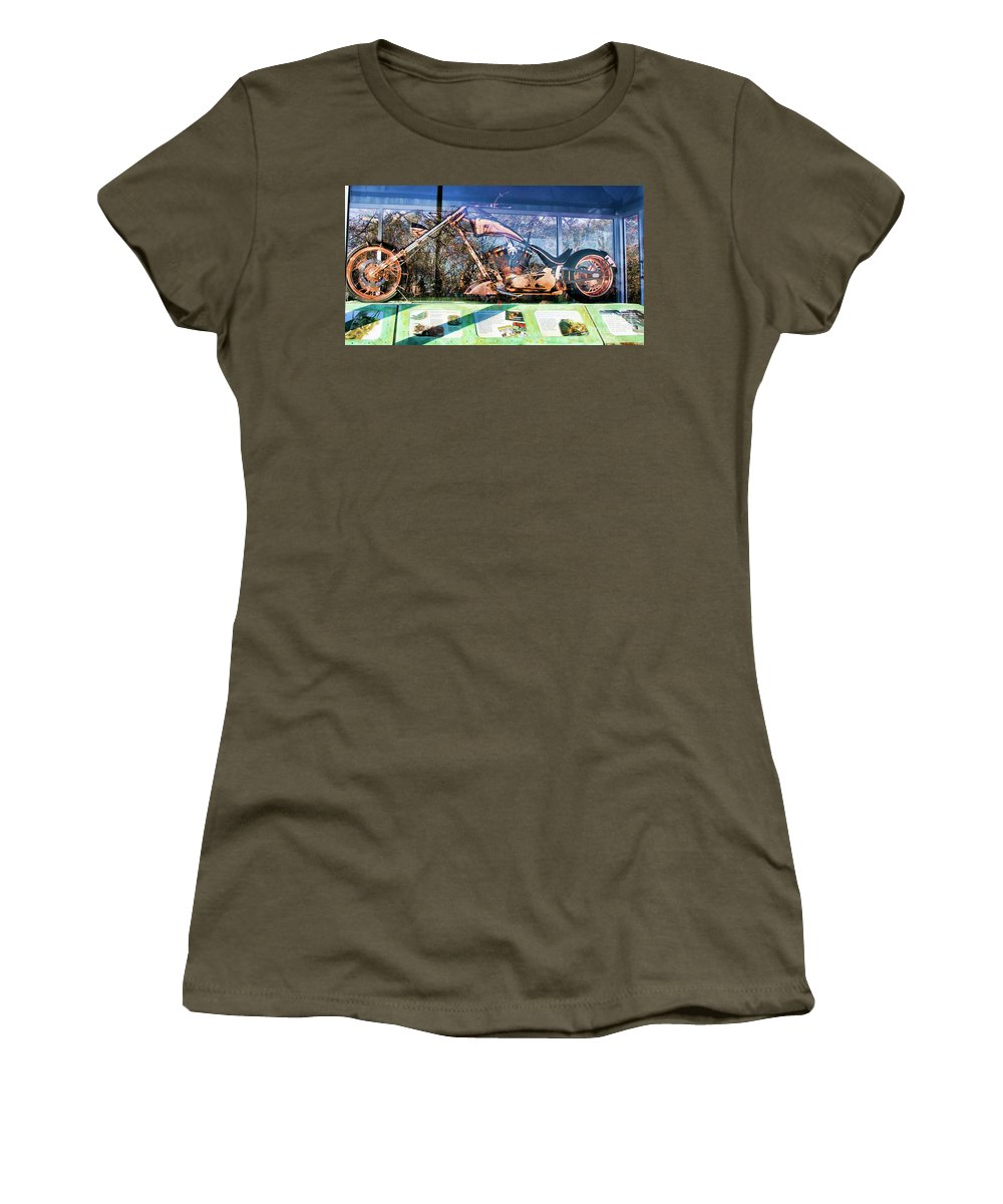 Liberty Bike Women's T-Shirt (Athletic Fit) featuring the photograph Display Lady Liberty Copper Bike Ny by Chuck Kuhn