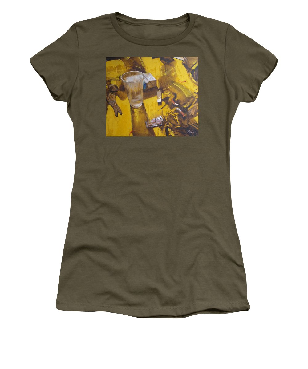 Disposable Women's T-Shirt (Athletic Fit) featuring the painting Disposable by Sergey Ignatenko