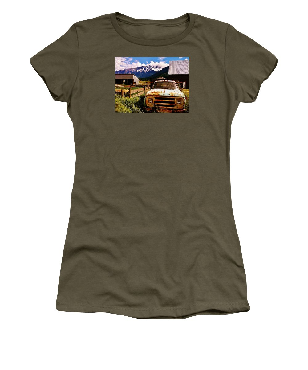Dodge Truck Women's T-Shirt featuring the photograph Dodging Mount Currie by Paul K Porter