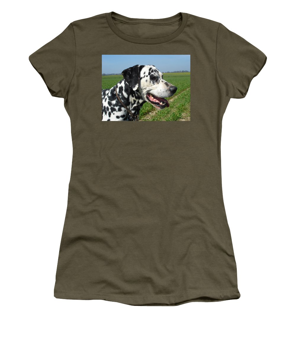 Dog Women's T-Shirt featuring the photograph Dodgy The Dalmation by Susan Baker