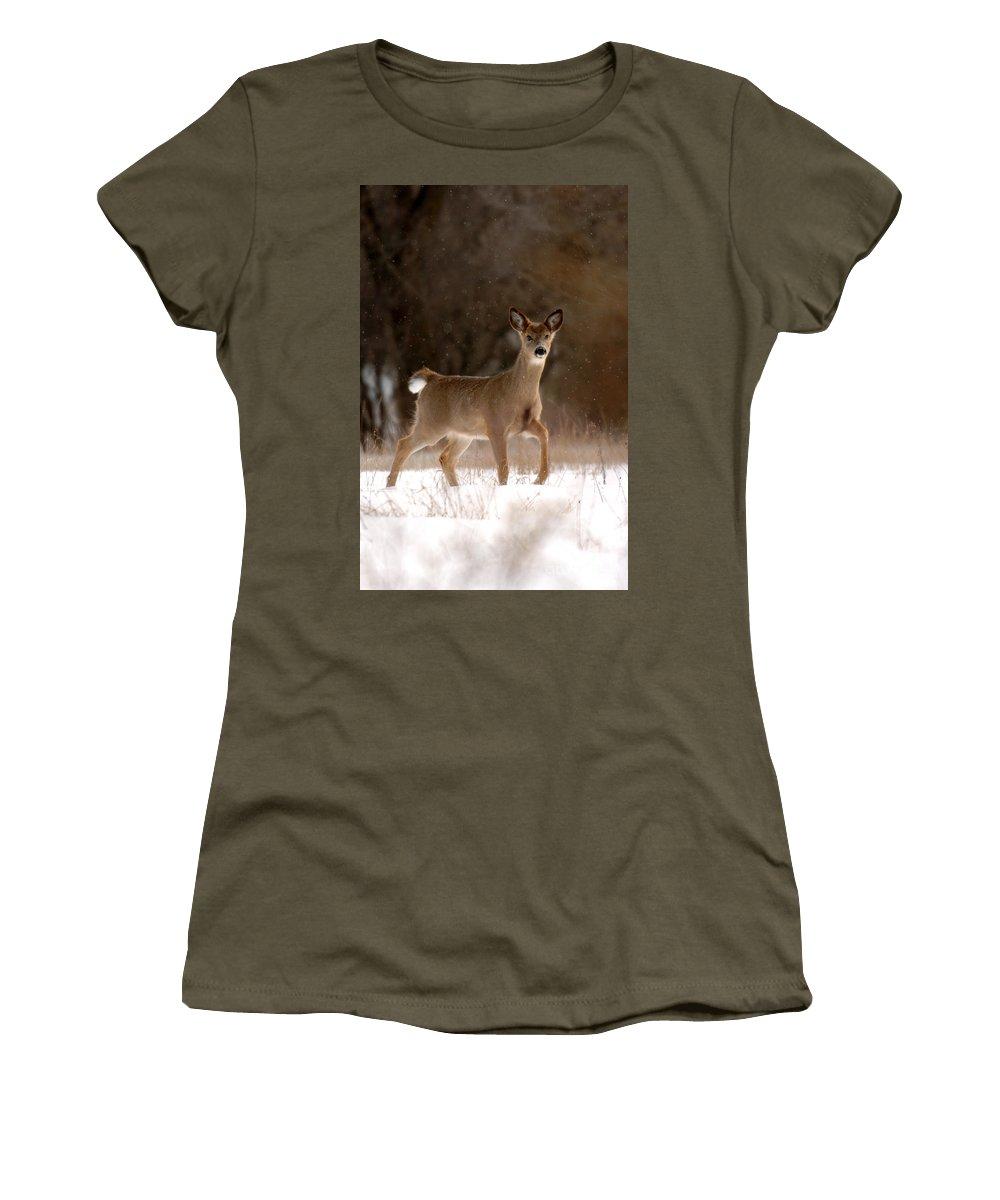 Doe Women's T-Shirt featuring the photograph Doe A Deer by Kristin Yata