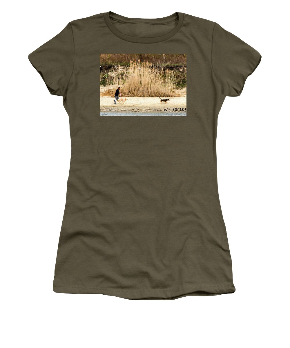 This Is A Photo Of An Owner And His Dogs At Play On A Beach In Manasquan New Jersey. Women's T-Shirt featuring the photograph Dogs At Play by William Rogers