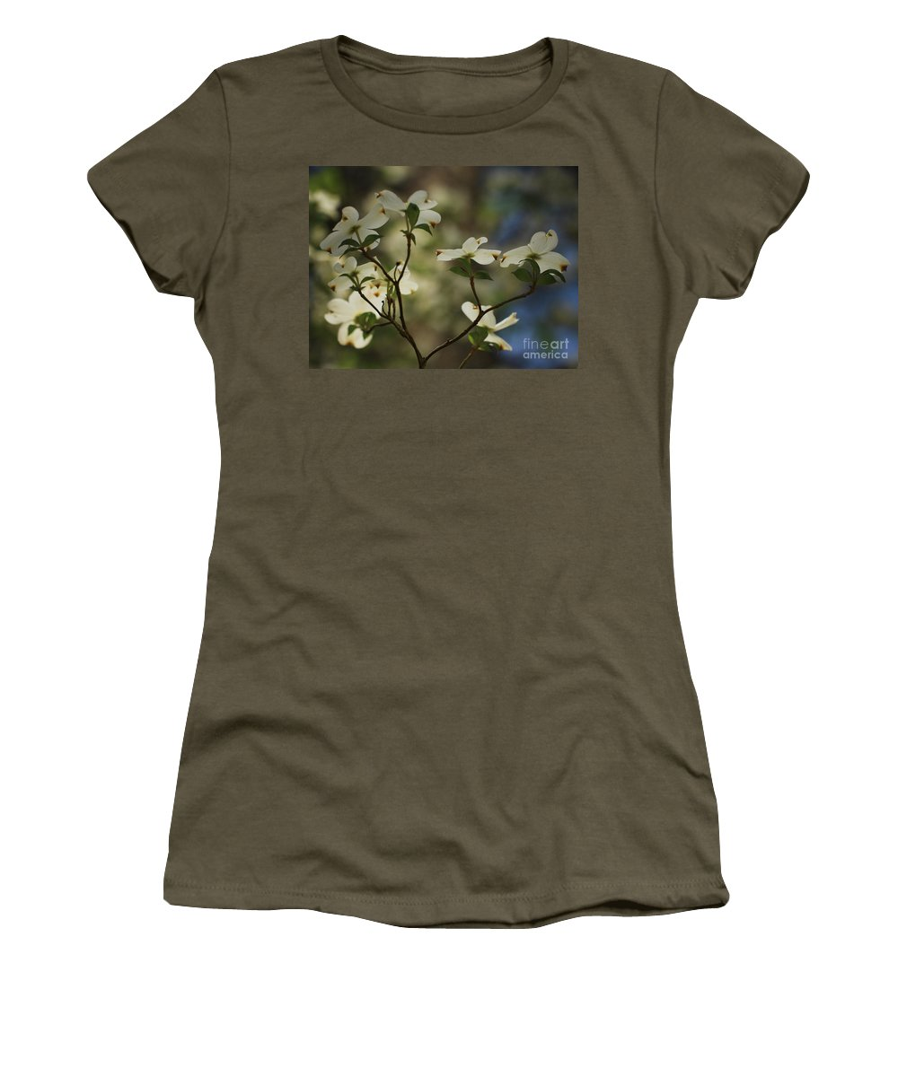Spring Flowers Women's T-Shirt (Athletic Fit) featuring the photograph Dogwoods by Kim Henderson