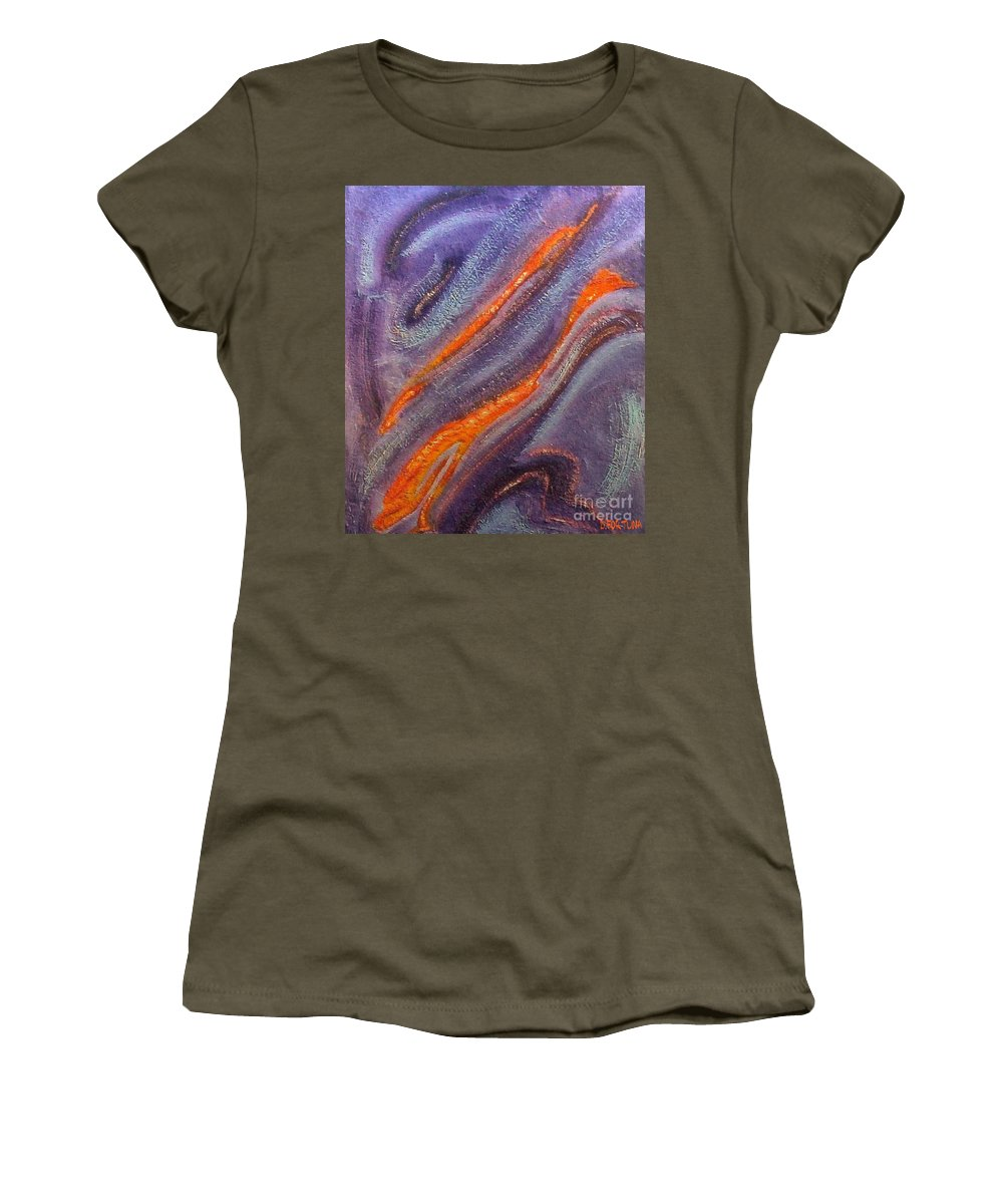 Mixed Media Women's T-Shirt (Athletic Fit) featuring the mixed media Dolphins by Dragica Micki Fortuna
