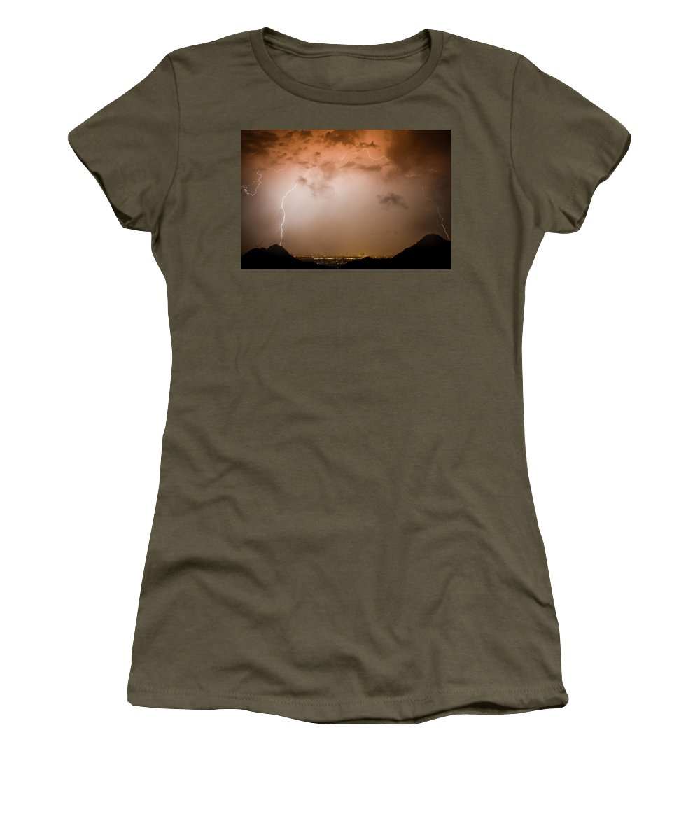 Lightning Women's T-Shirt featuring the photograph Dome Of Lightning by James BO Insogna