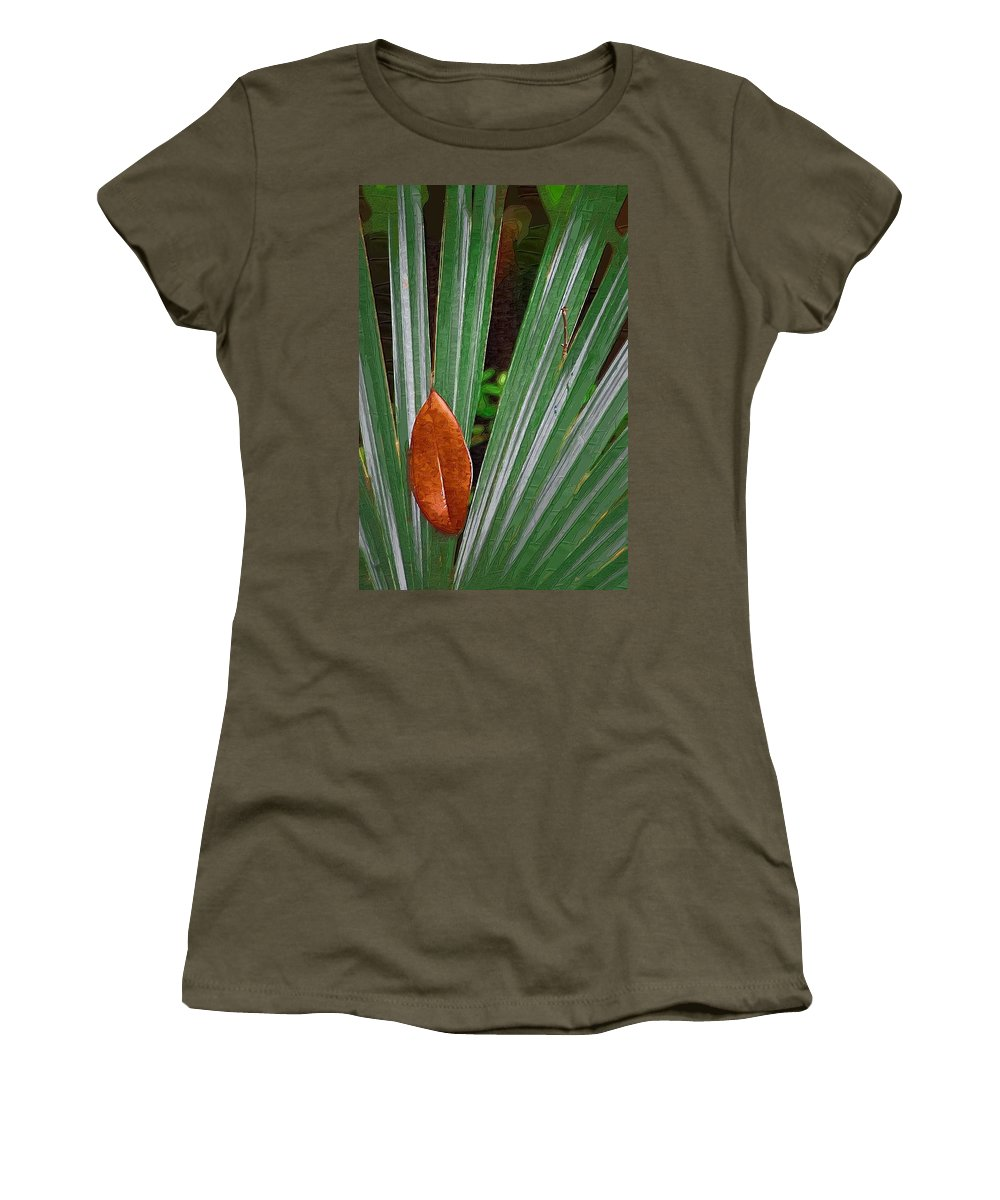 Leaves Women's T-Shirt featuring the photograph Don't Leaf by Donna Bentley