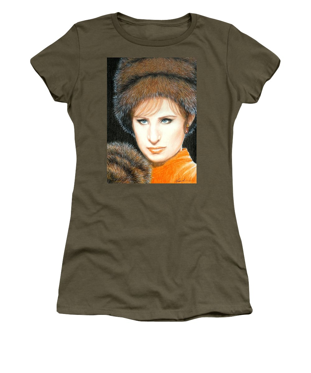 Barbra Streisand Funny Girl Bruce Lennon Art Women's T-Shirt (Athletic Fit) featuring the painting Don't Rain On My Parade by Bruce Lennon