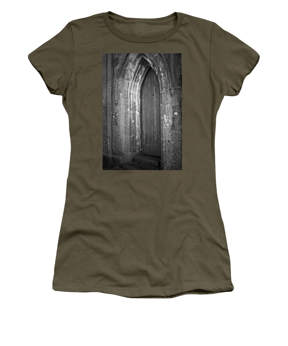 Irish Women's T-Shirt featuring the photograph Door At Protestant Church Macroom Ireland by Teresa Mucha