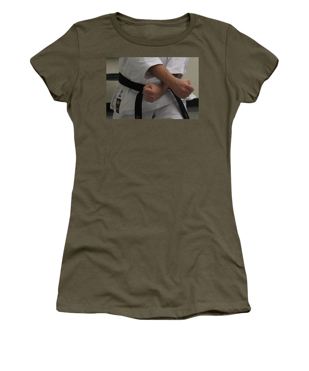 Karate Women's T-Shirt (Athletic Fit) featuring the photograph Double Fisted by Kelly Mezzapelle