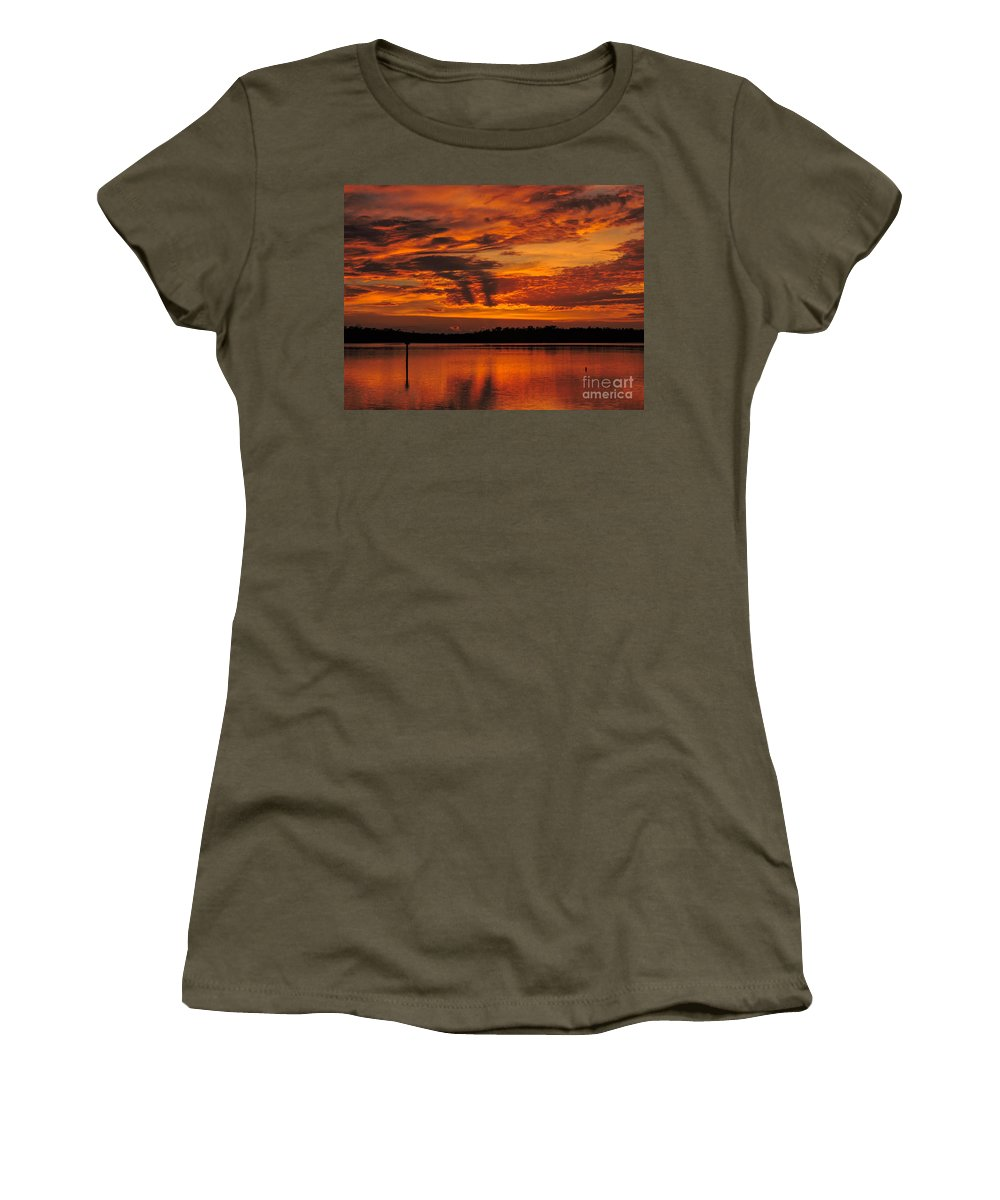 Sunset Women's T-Shirt featuring the photograph Double Vision by Marilee Noland