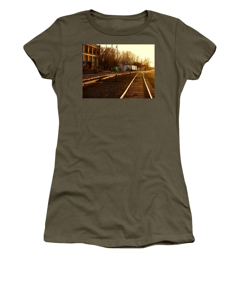 Landscape Women's T-Shirt (Athletic Fit) featuring the photograph Down The Right Track by Steve Karol