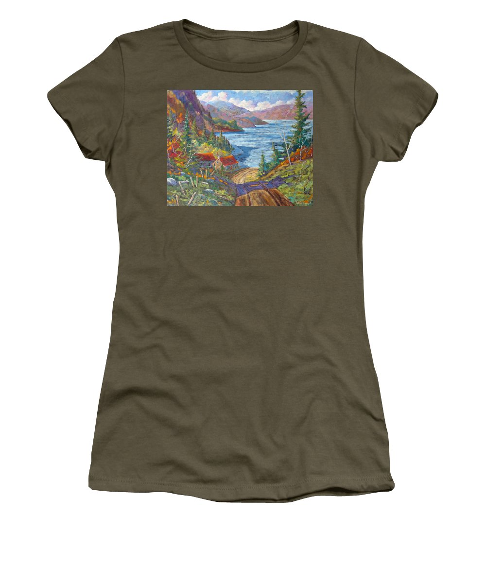 Landscape Women's T-Shirt (Athletic Fit) featuring the painting Down To The Lake by Richard T Pranke