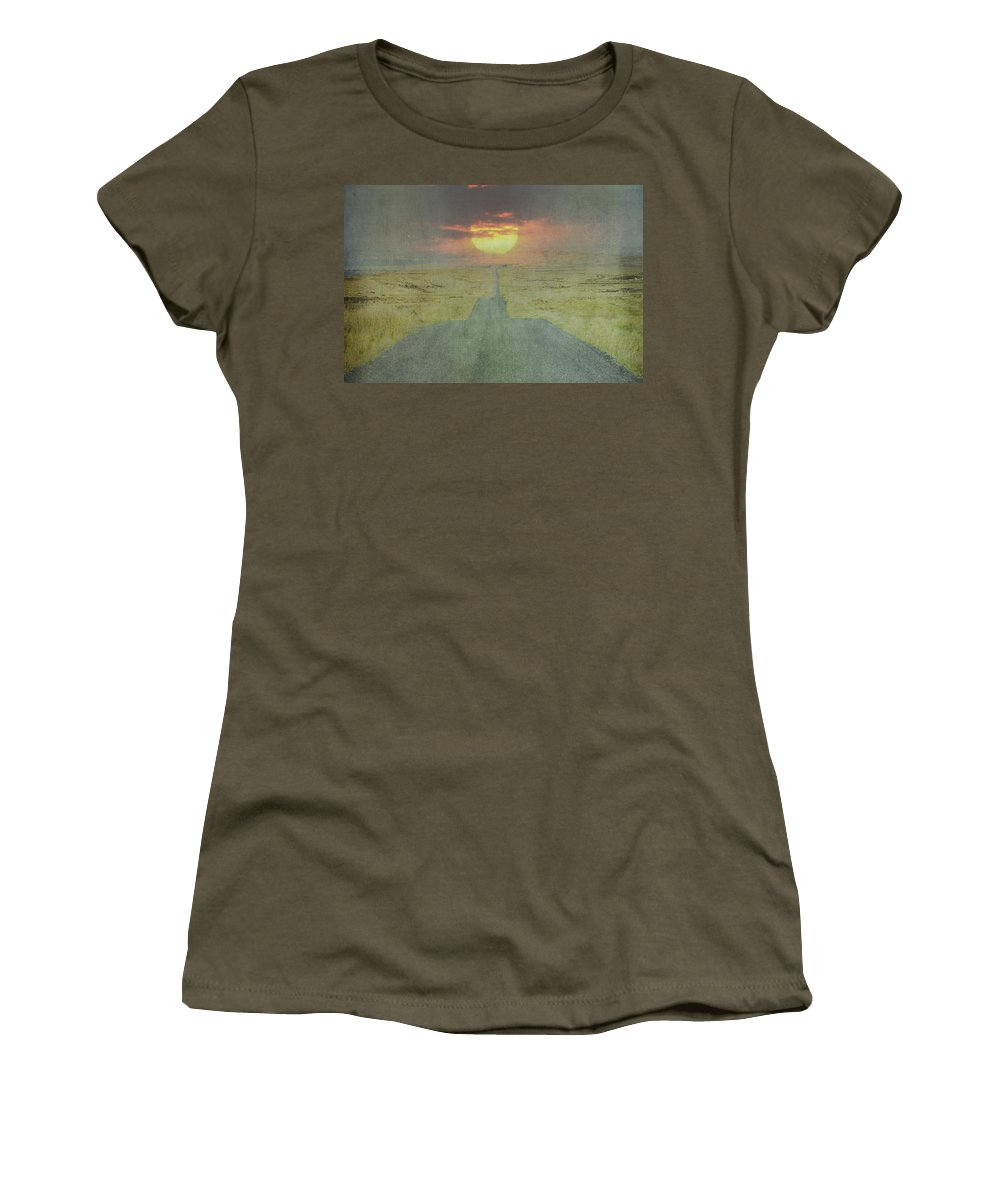 Downhill Women's T-Shirt featuring the photograph Downhill Sunset by Bill Cannon