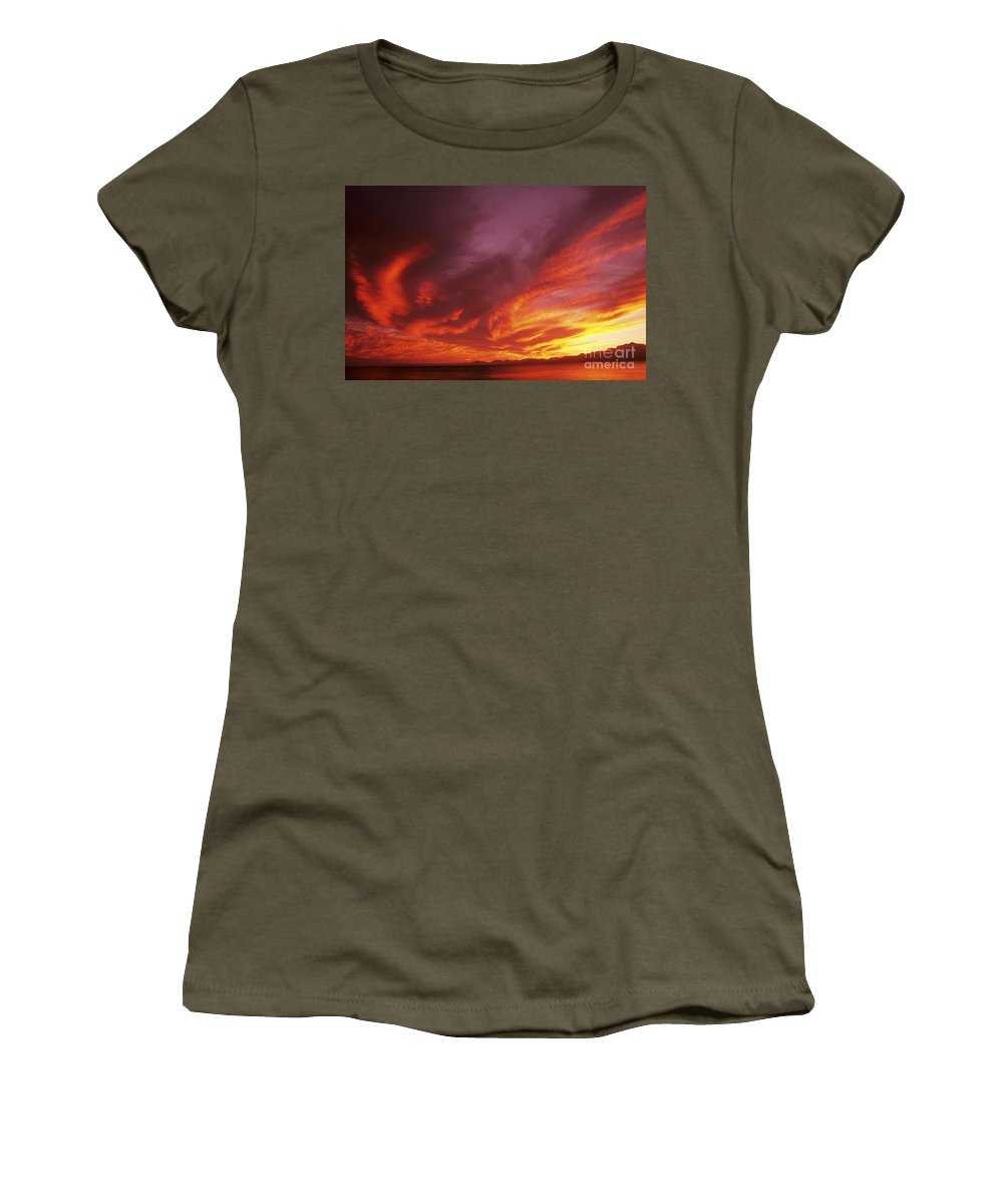 Air Art Women's T-Shirt featuring the photograph Dramatic Sunset by Larry Dale Gordon - Printscapes