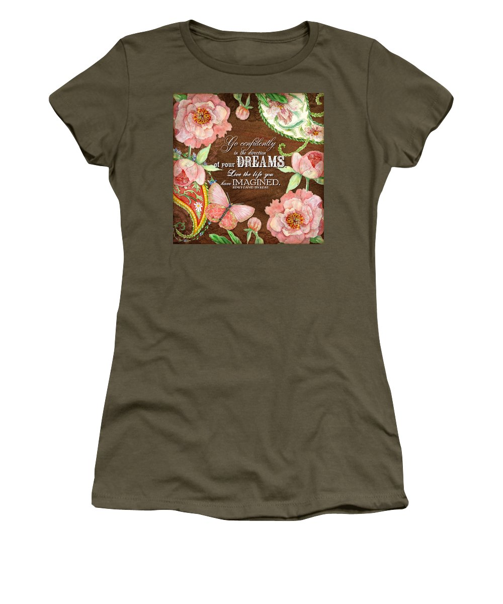 Paisley Women's T-Shirt featuring the painting Dreams - Thoreau by Audrey Jeanne Roberts