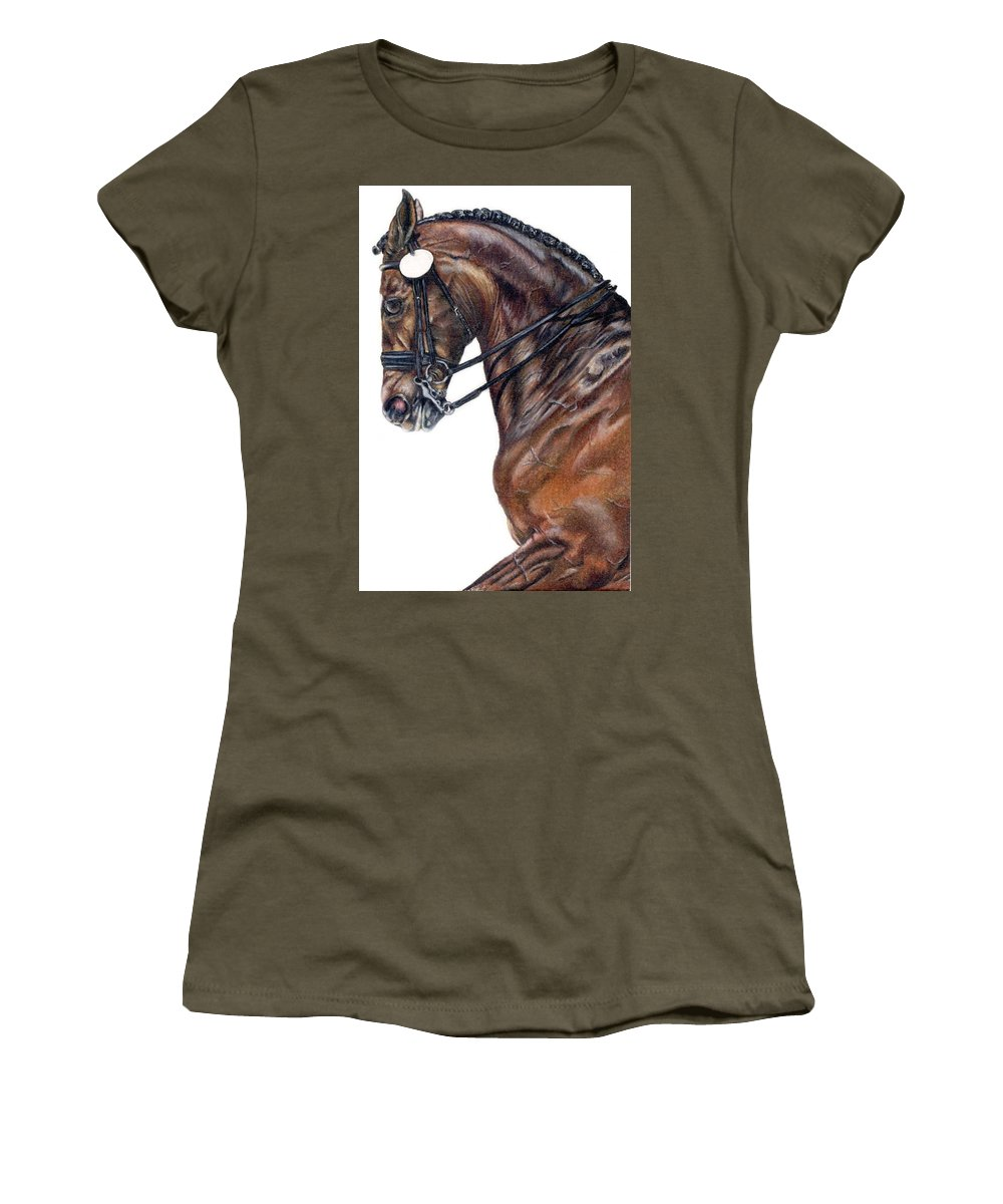 Horse Women's T-Shirt (Athletic Fit) featuring the drawing Driven by Kristen Wesch