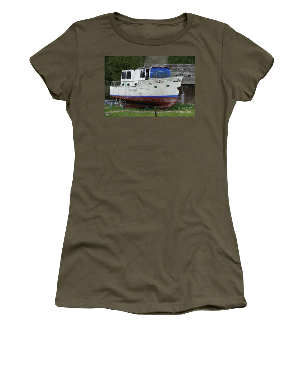 Boat Women's T-Shirt (Athletic Fit) featuring the photograph Dry Dock by Alan M Thwaites