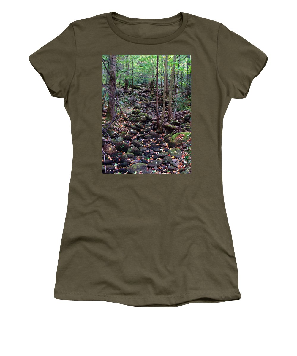 River Women's T-Shirt featuring the photograph Dry River Bed- Autumn by Nancy Mueller