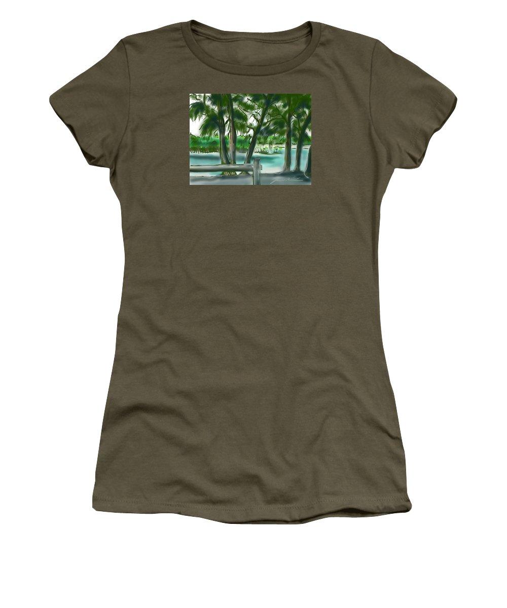Dubois Park Women's T-Shirt featuring the painting Dubois Park Lagoon by Jean Pacheco Ravinski