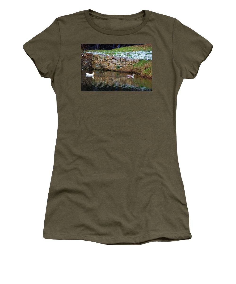 Duck Women's T-Shirt featuring the photograph Duck Duck by Eric Liller