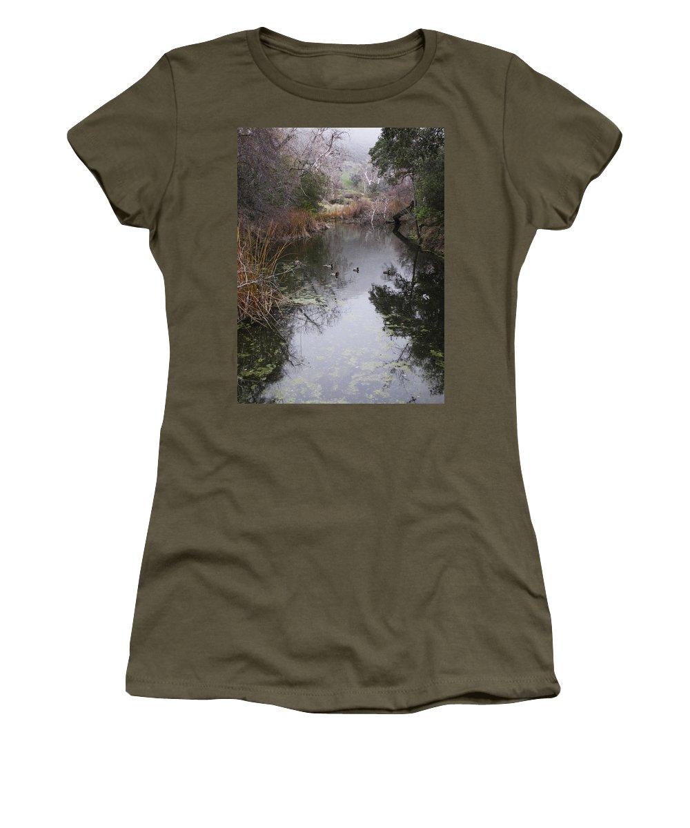 Ducks Women's T-Shirt featuring the photograph Ducks From The Bridge by Karen W Meyer