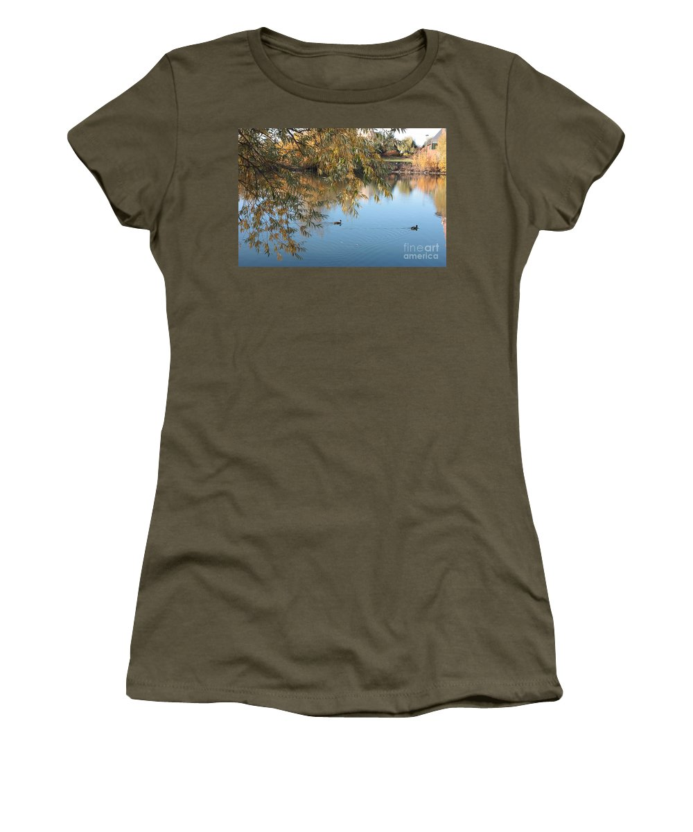 Autumn Pond Women's T-Shirt featuring the photograph Ducks On Peaceful Autumn Pond by Carol Groenen