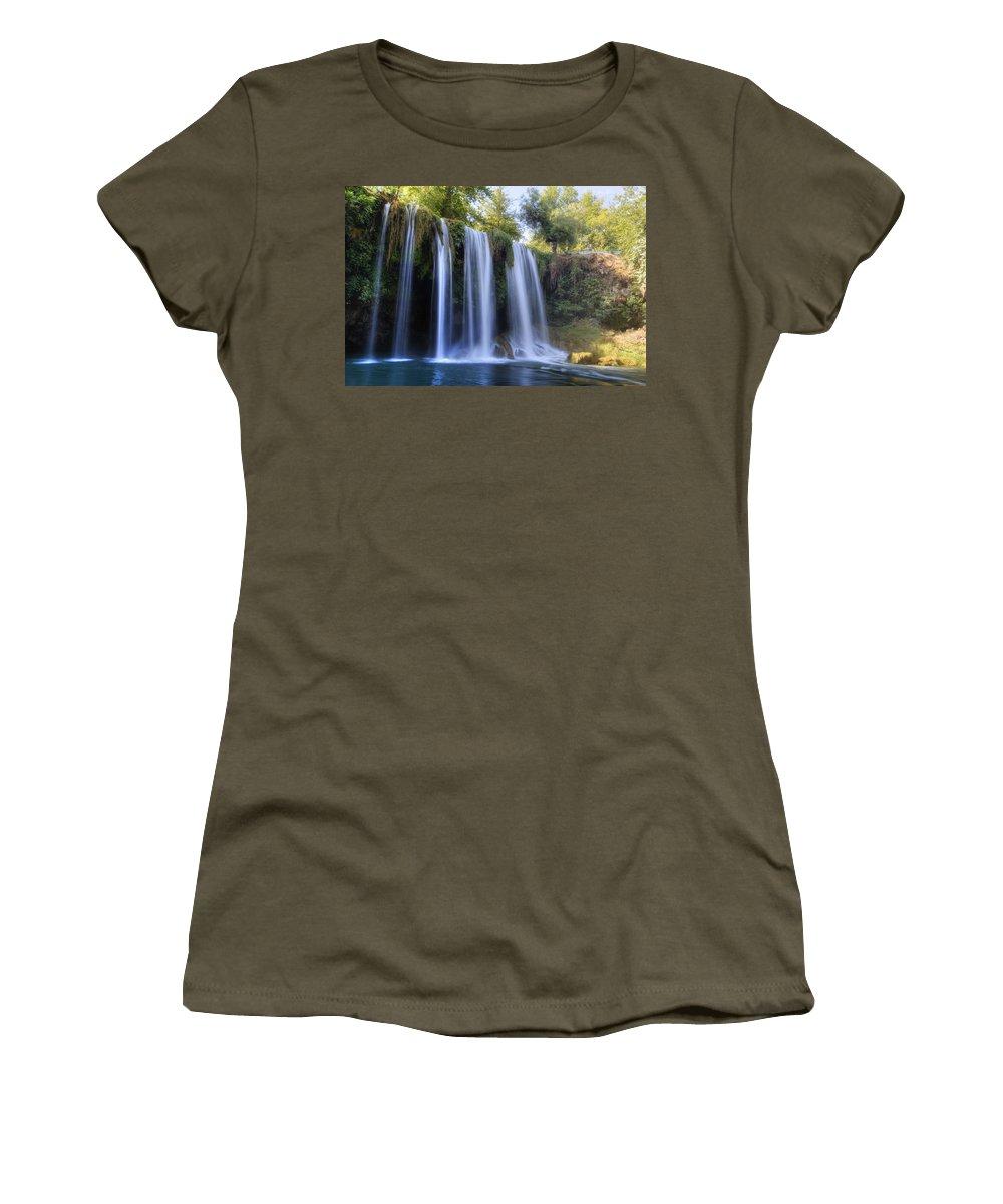 Duden Waterfall Women's T-Shirt featuring the photograph Duden Waterfall - Turkey by Joana Kruse