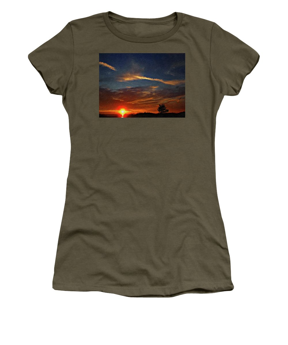 Sauble Beach Women's T-Shirt (Athletic Fit) featuring the photograph Dune Dreaming Impasto by Steve Harrington