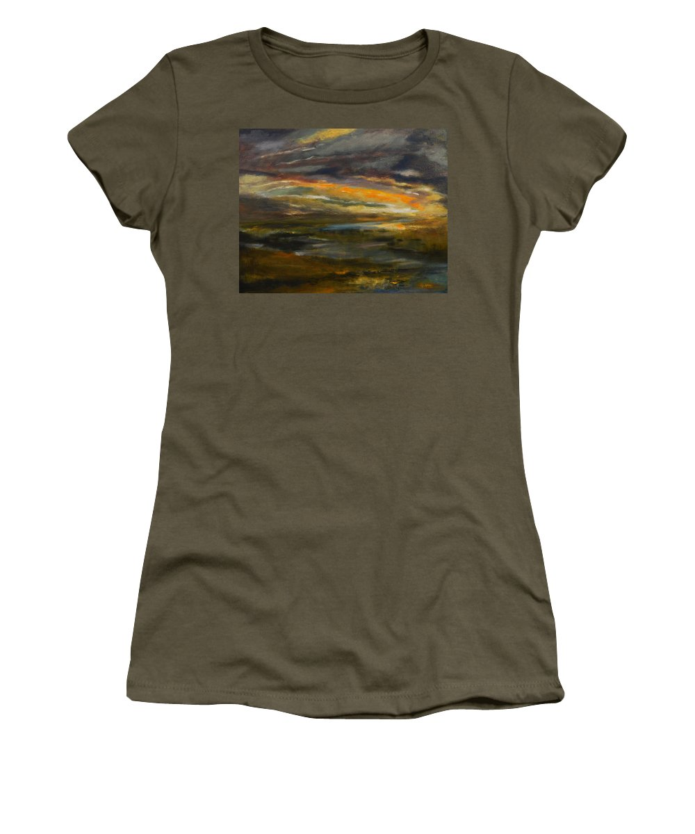 Sky Women's T-Shirt featuring the painting Dusk At The River by Julianne Felton