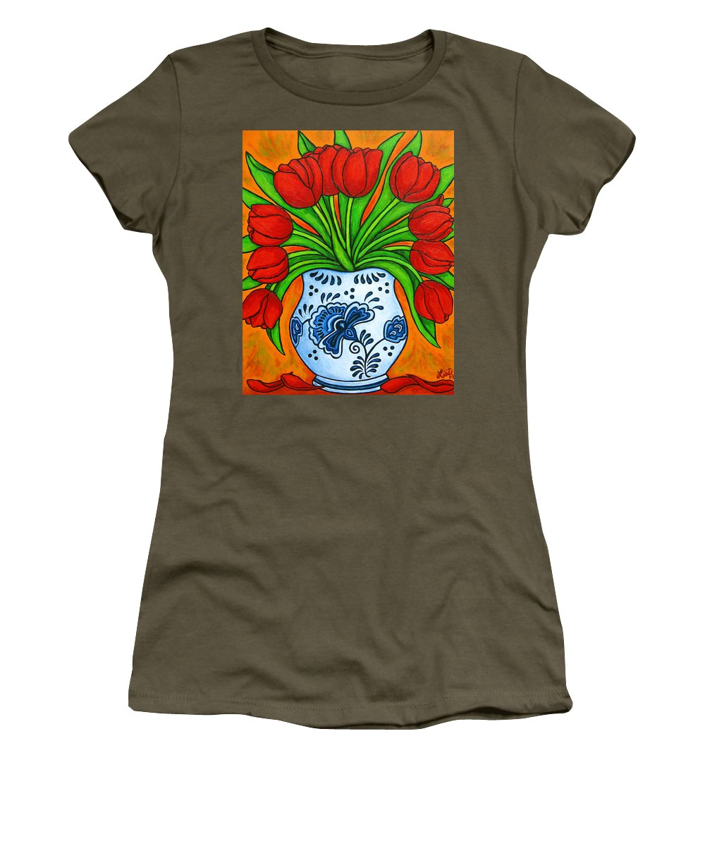 White Women's T-Shirt (Athletic Fit) featuring the painting Dutch Delight by Lisa Lorenz