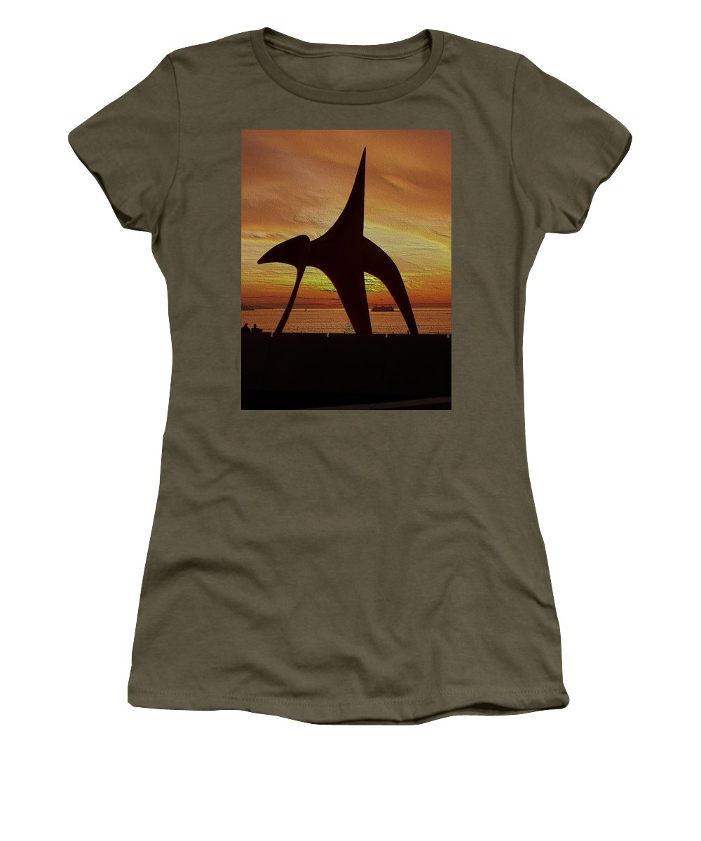 Seattle Women's T-Shirt featuring the digital art Eagle Sunset Over Elliott Bay by Tim Allen
