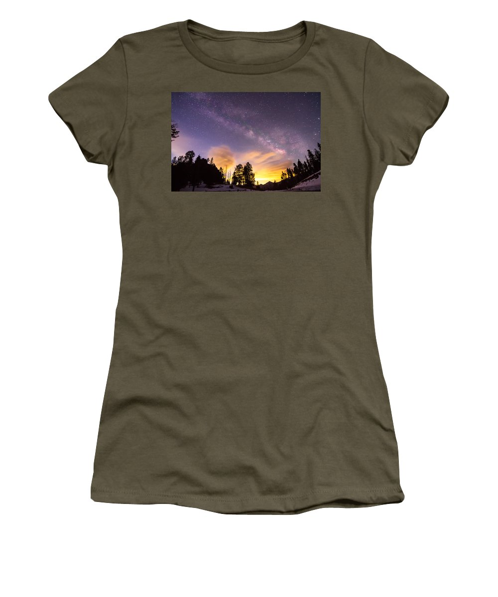 Scenic Women's T-Shirt featuring the photograph Early Morning Colorful Colorado Milky Way View by James BO Insogna