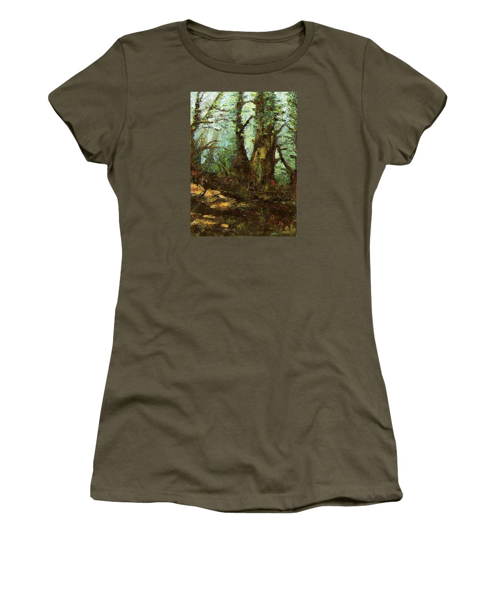 Landscape Women's T-Shirt featuring the painting Early Morning In The Forest by Ioulia Sotiriou