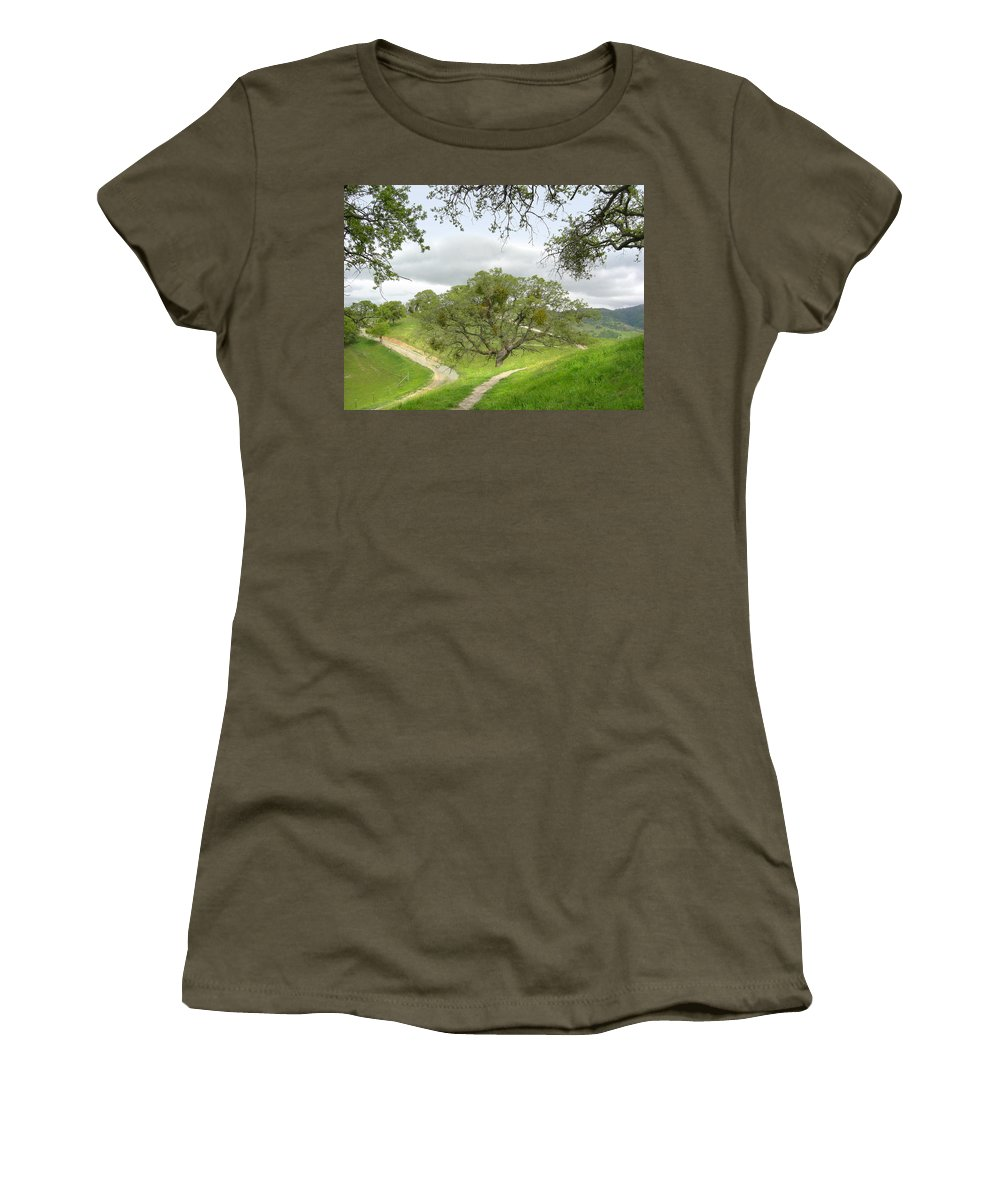 Landscape Women's T-Shirt (Athletic Fit) featuring the photograph East Ridge Trail - Spring by Karen W Meyer