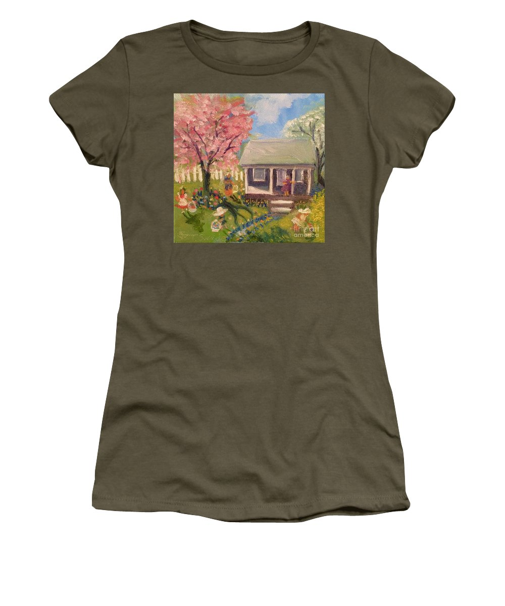 Easter Women's T-Shirt featuring the painting Easter At My House by Tina Swindell