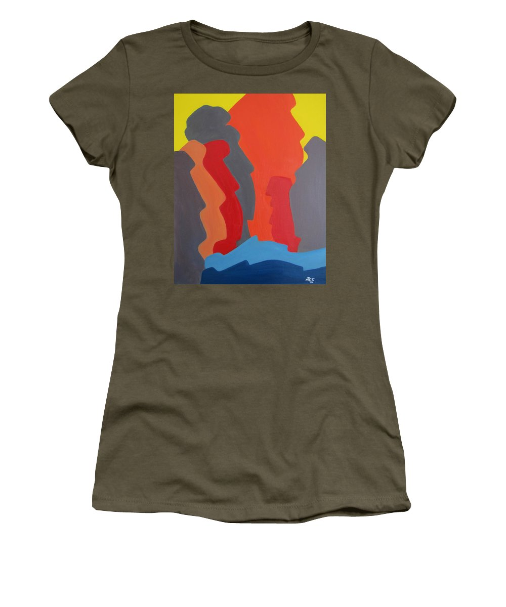 Easter Island. Michael Tmad Finney Women's T-Shirt (Athletic Fit) featuring the painting Easter Island by Michael TMAD Finney AKA MTEE