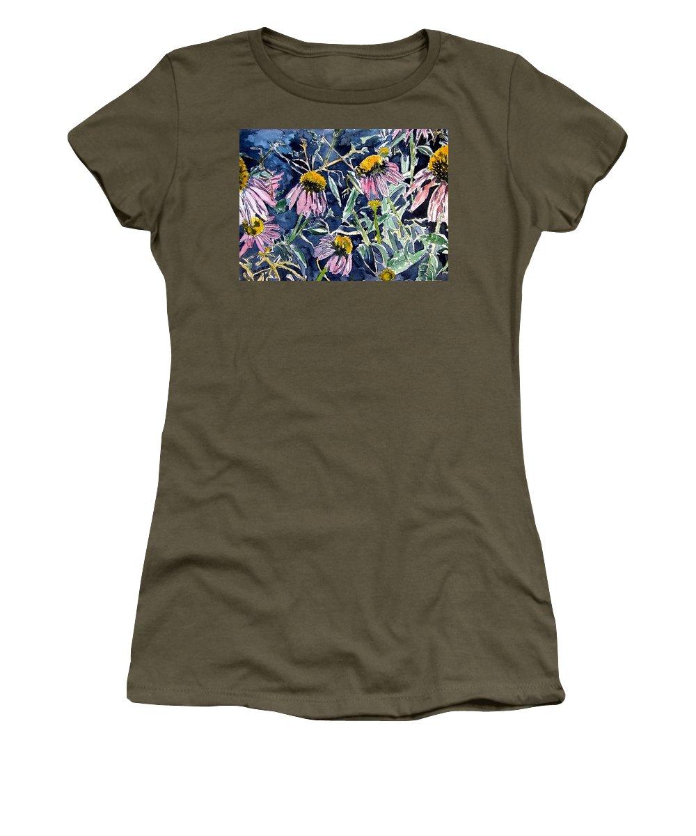 Echinacea Women's T-Shirt featuring the painting Echinacea Cone Flower Art by Derek Mccrea