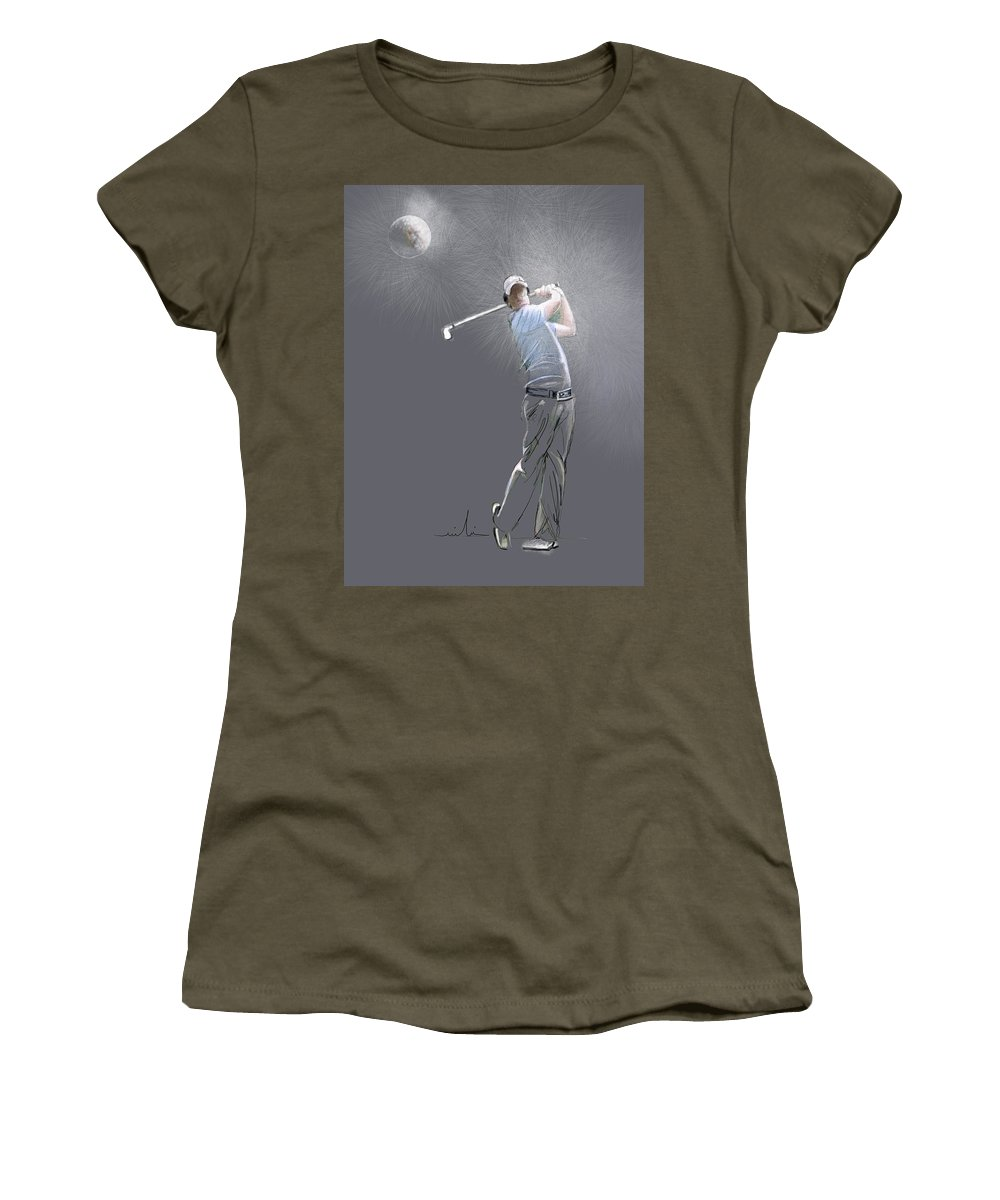 Golf Women's T-Shirt featuring the painting Eclipse by Miki De Goodaboom