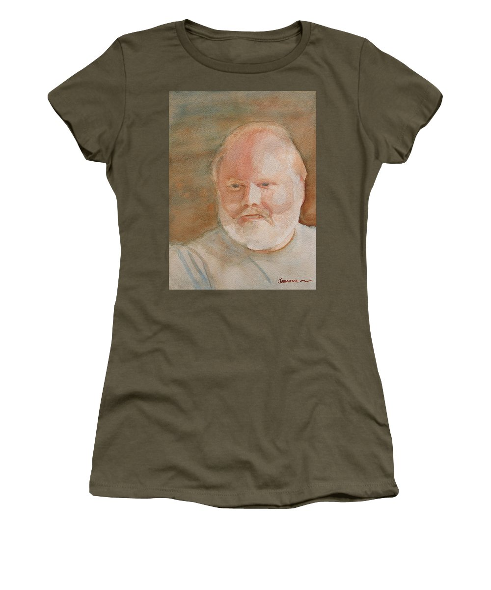 Man Women's T-Shirt (Athletic Fit) featuring the painting Ed Turns Forty by Jenny Armitage