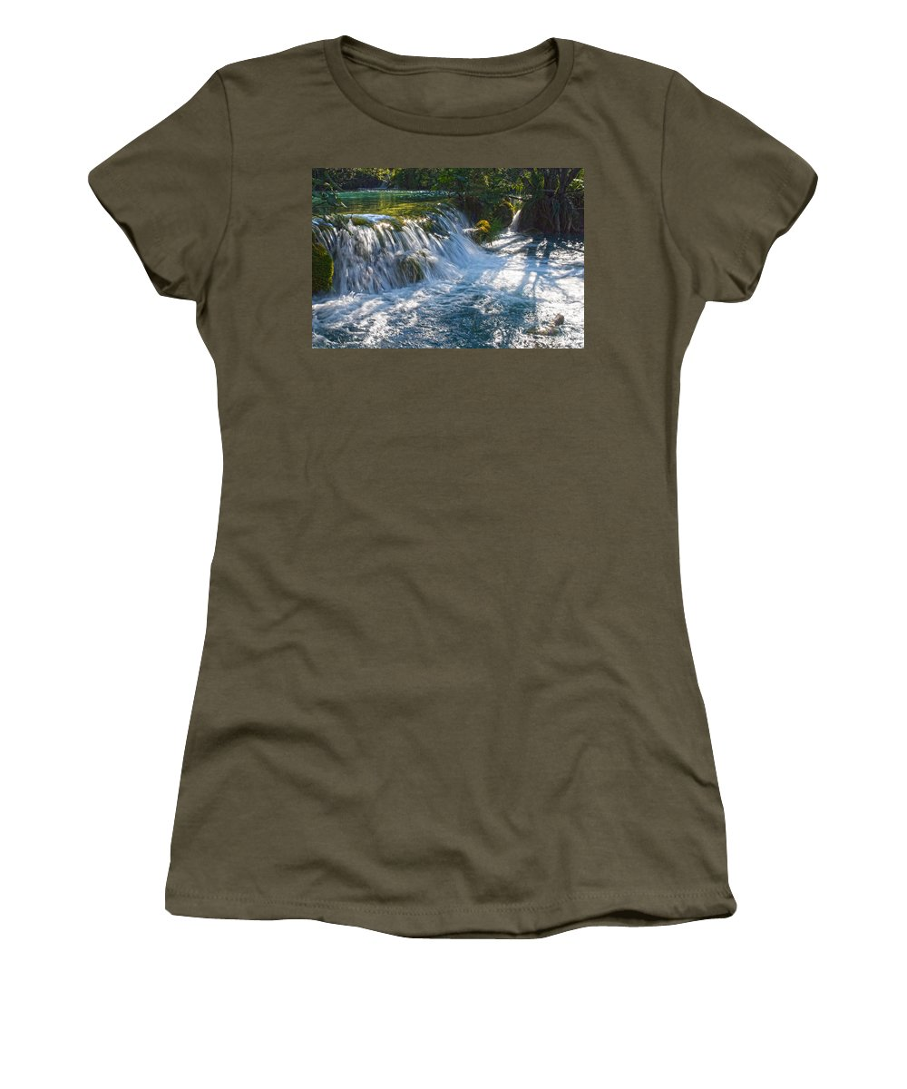 Waterfall Women's T-Shirt (Athletic Fit) featuring the photograph Eden II by Daniel Csoka