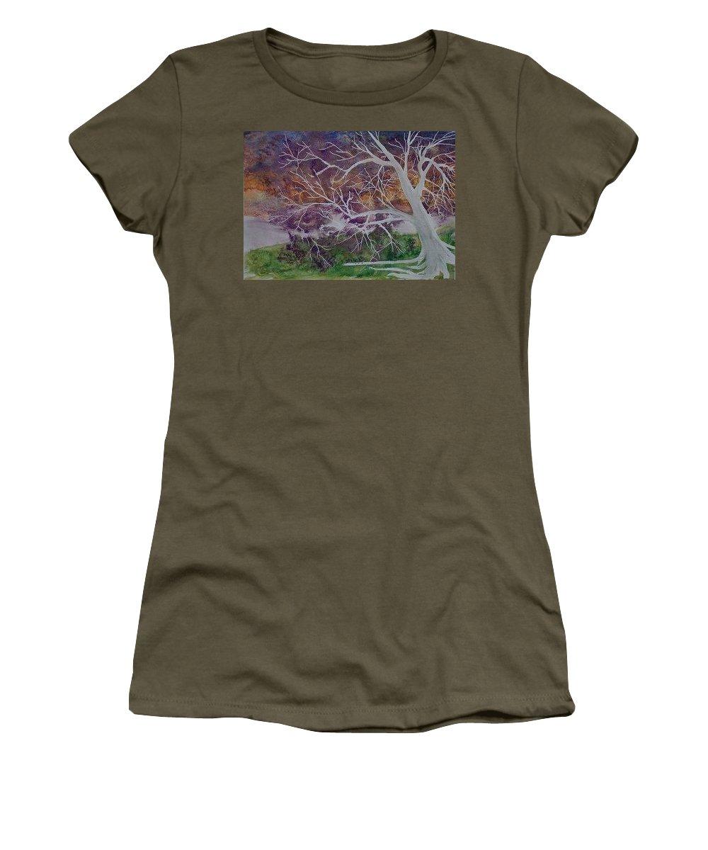 Watercolor Women's T-Shirt (Athletic Fit) featuring the painting Eerie Gothic Landscape Fine Art Surreal Print by Derek Mccrea
