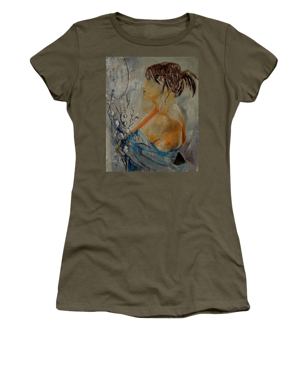 Girl Women's T-Shirt featuring the painting Eglantine Before The Mirror by Pol Ledent