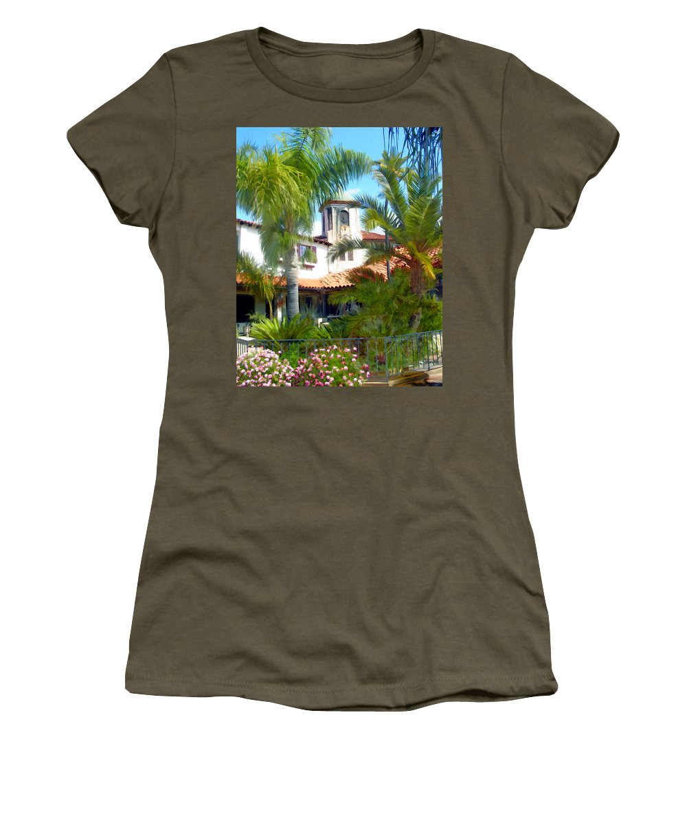Santa Barbara Women's T-Shirt (Athletic Fit) featuring the photograph El Presidio by Kurt Van Wagner