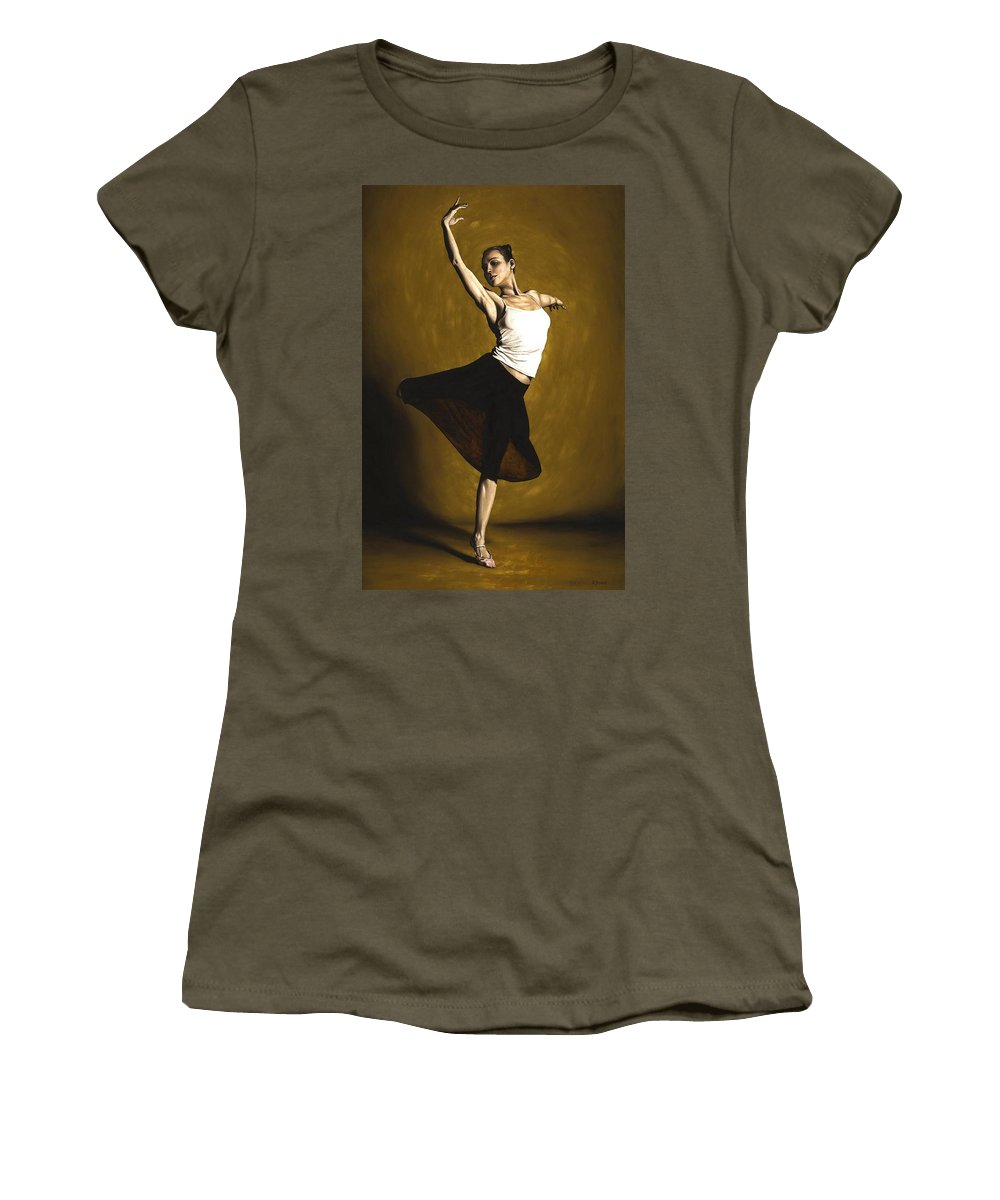Elegant Women's T-Shirt (Athletic Fit) featuring the painting Elegant Dancer by Richard Young