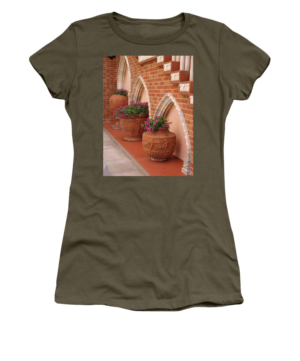 Archways Women's T-Shirt (Athletic Fit) featuring the photograph Elegant Italian Florals by Kim Chernecky